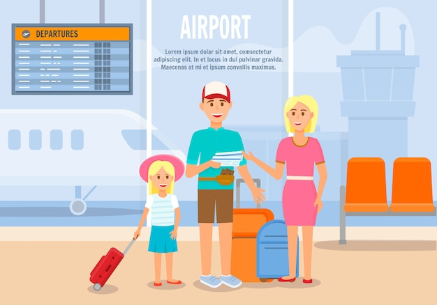Parents traveling with little daughter by airplane Premium Vector