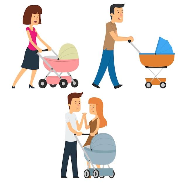 Родители гуляют с коляской. Premium векторы