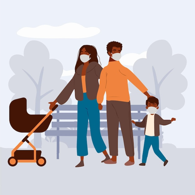 Родители гуляют со своими детьми с медицинскими масками на открытом воздухе Бесплатные векторы