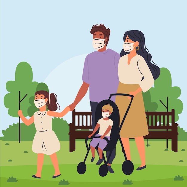 Parents walking with their children with medical masks Free Vector