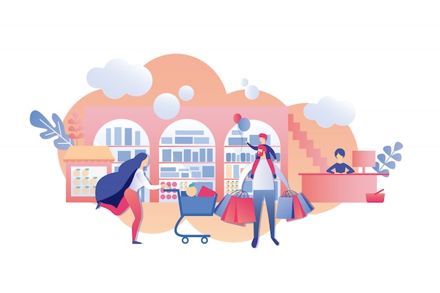 Parents with child in hurry until end sale cashier Premium Vector