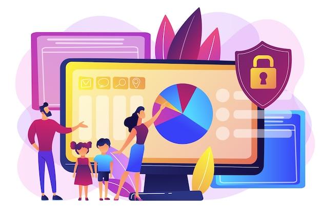 Genitori con figli che utilizzano software di controllo dei contenuti. software di controllo parentale, accesso limitato per i bambini, concetto di limitazioni dei contenuti multimediali. illustrazione isolata viola vibrante brillante Vettore gratuito