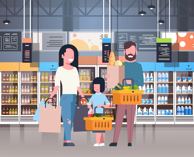Parents with daughter shopping at supermarket buying fresh grocery products Premium Vector