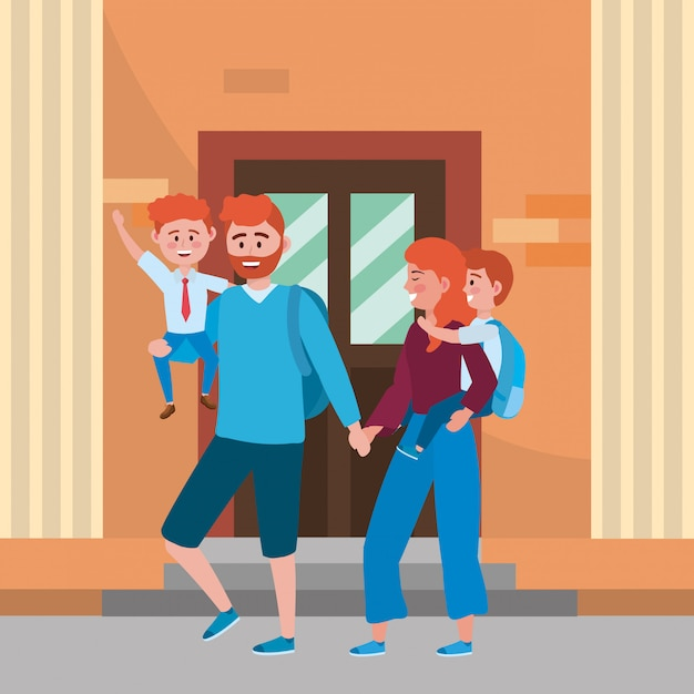 Parents with kids going to school Free Vector