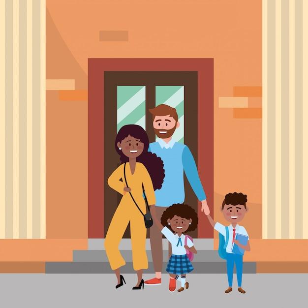 学校に通う子供を持つ親 無料ベクター