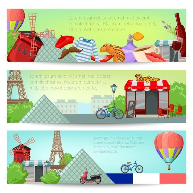 Set di banner di parigi Vettore gratuito