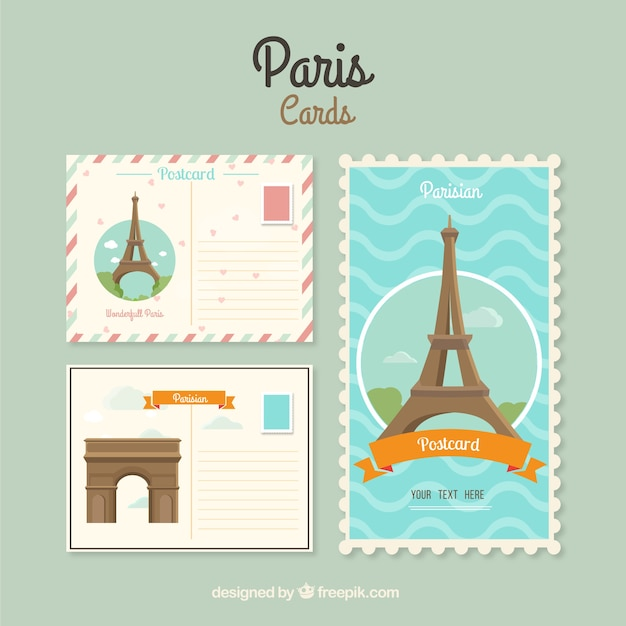 Paris cards template Vector | Free Download