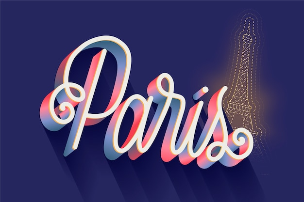 Paris city lettering Free Vector