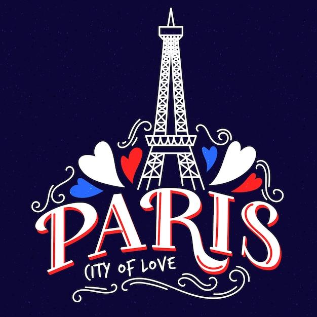 Paris city lettering Free Vector