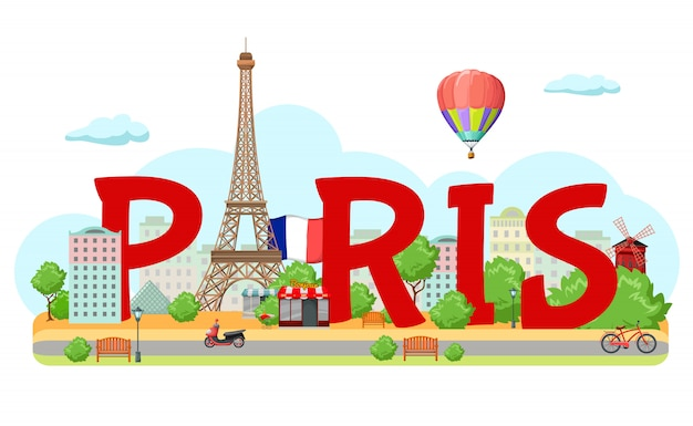 Paris city sign composition Free Vector