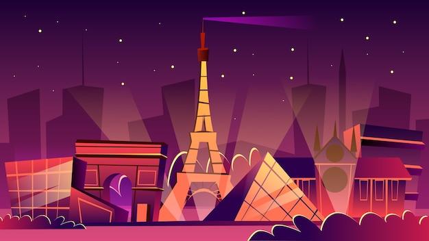 Paris cityscape illustration. Cartoon Paris landmarks in night, Eiffel Tower Free Vector