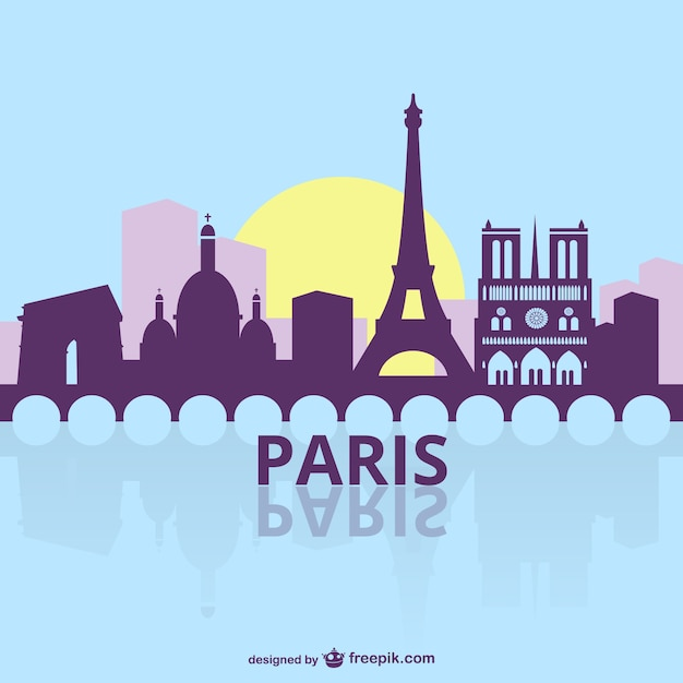 Skyline silhouette of paris city vector | free download.