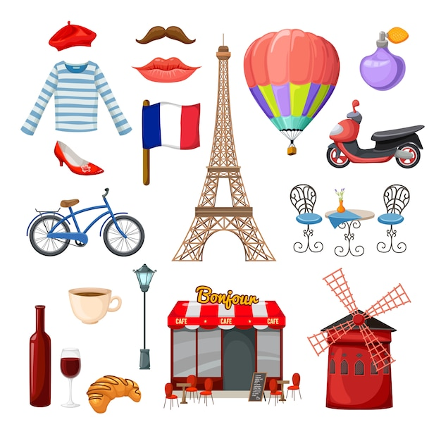 Paris elements and objects set Free Vector