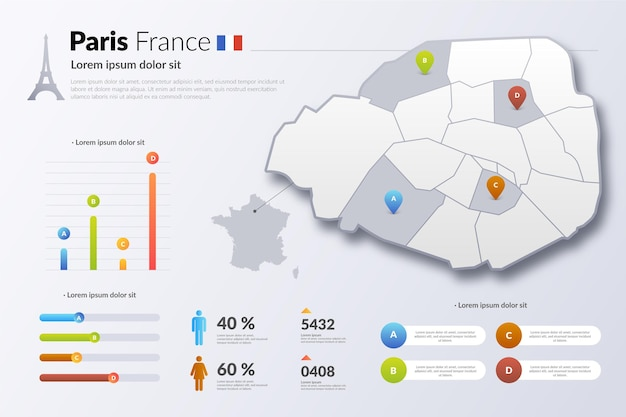 Parigi francia mappa gradiente infografica Vettore gratuito