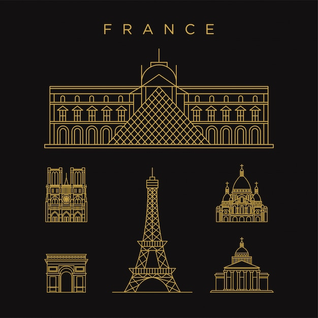 Paris france landmark golden icon with line style template Premium Vector