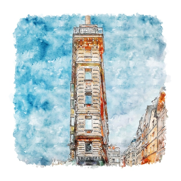 파리 프랑스 수채화 스케치 손으로 그린 그림 프리미엄 벡터