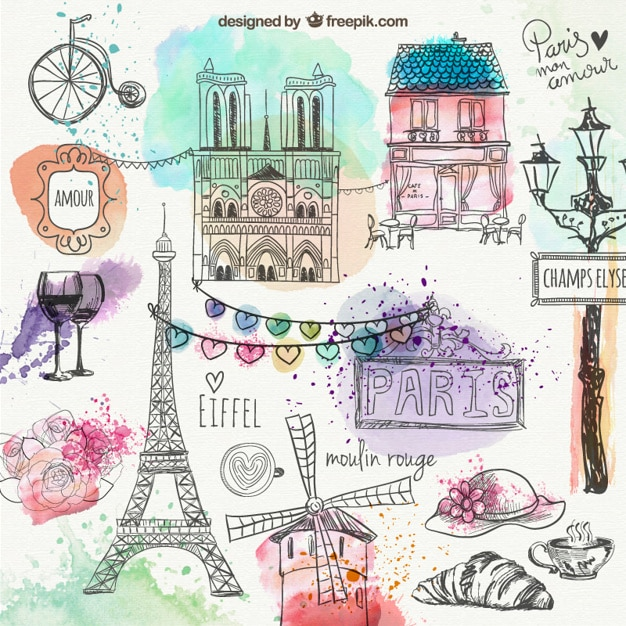 Paris hand drawn doodles Free Vector