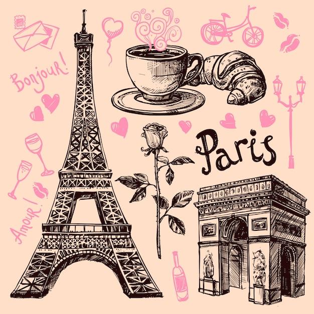 Paris hand drawn symbols set Free Vector