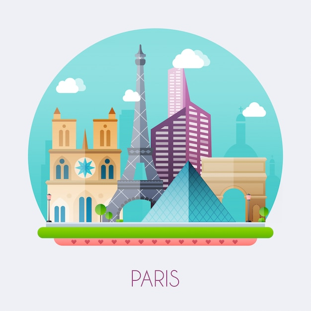 Paris illustration Premium Vector