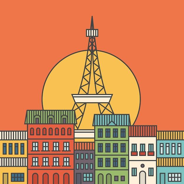 Парижская иллюстрация Premium векторы