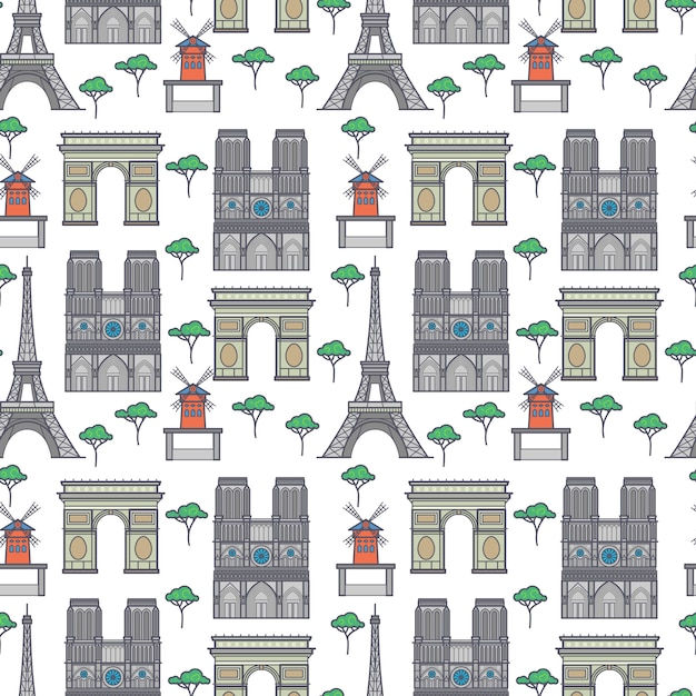 Paris landmarks seamless pattern Premium Vector