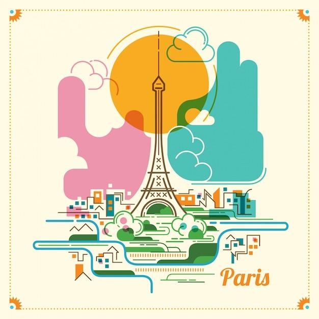 Paris landscape illustration Premium Vector