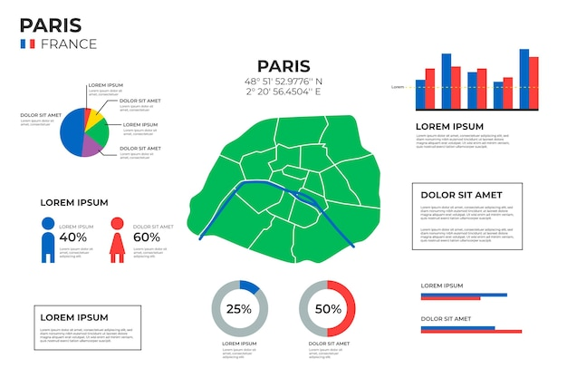Parigi mappa infografica in design piatto Vettore gratuito