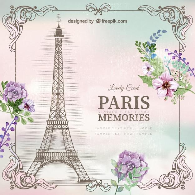 La tour eiffel eiffel tower clip art at vector clip image 1 - Paris Memories Card Vector Premium Download