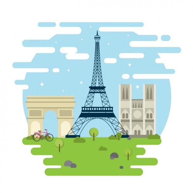 Paris monuments Free Vector