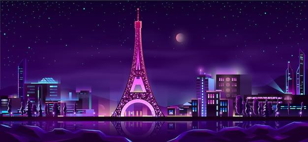 パリの夜の街の漫画の背景 無料ベクター