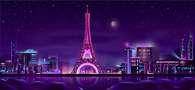Paris night streets cartoon background Free Vector