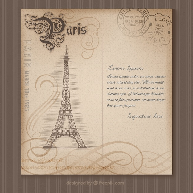 Paris postcard in retro style Premium Vector