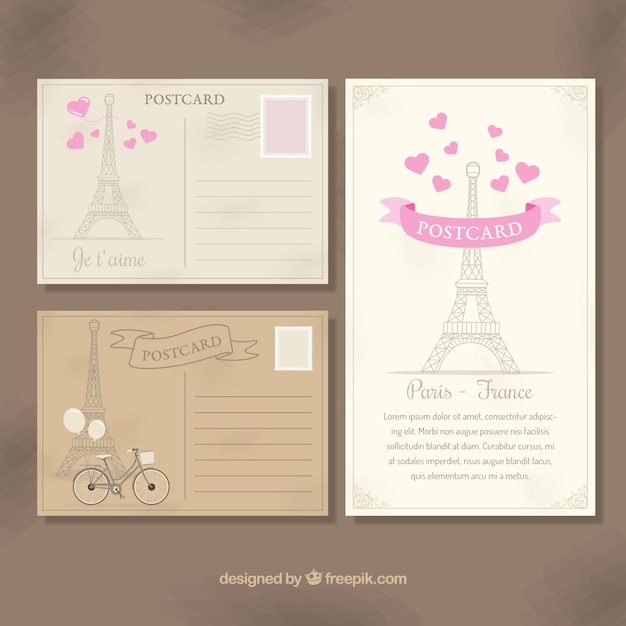 Paris postcards Free Vector