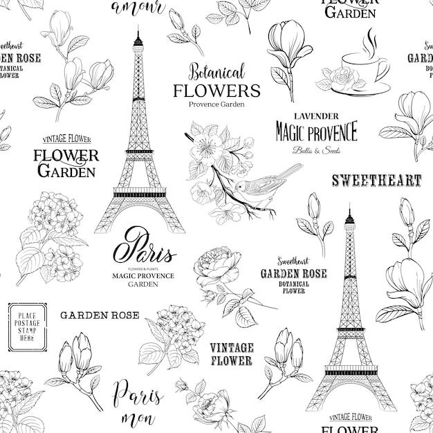 Paris romantic seamless pattern. Premium Vector
