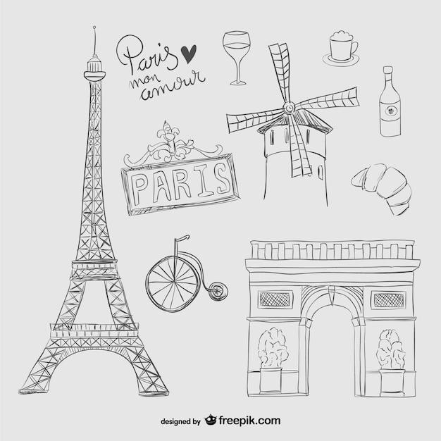Paris scribbles Free Vector