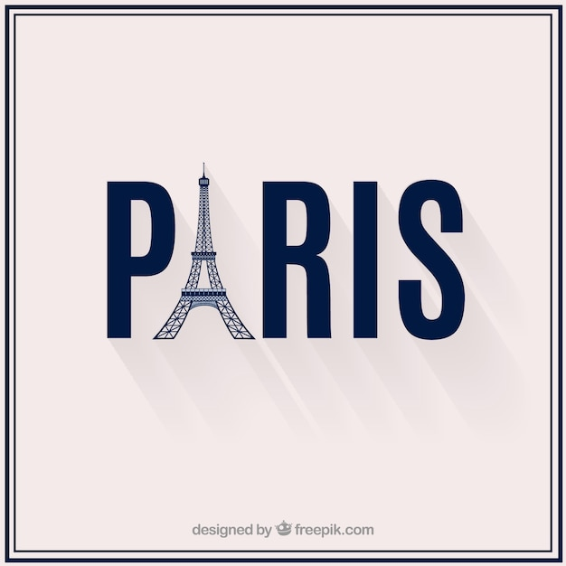 Paris text with tower eiffel Free Vector