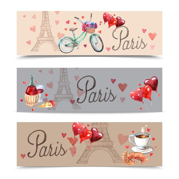 Paris watercolor symbols banners Free Vector