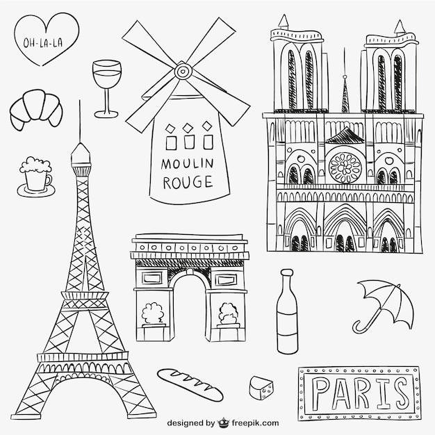 parisian landmarks and objects vector free download