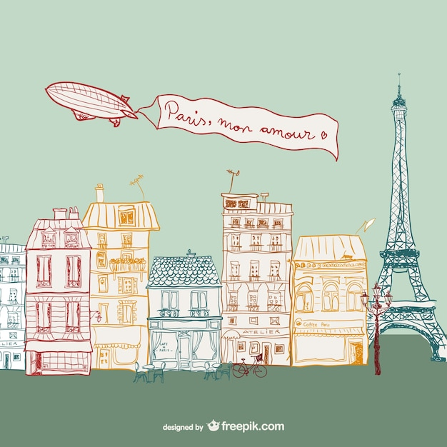 Parisian street drawing Free Vector