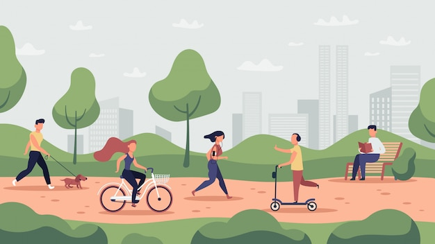 Park activities. outdoor sport workout and healthy lifestyle, people running, riding bicycle and jogging, park activities  illustration. park activity, runner and workout, jogging exercise Premium Vector