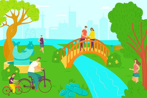 公園活動と幸せなレジャー、イラスト。庭、夏の大人の人々は緑の草の自然の上を歩きます。ライフスタイルの日散歩、男性女性ar屋外の美しい川と木。 Premiumベクター