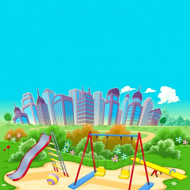 Park and city Free Vector