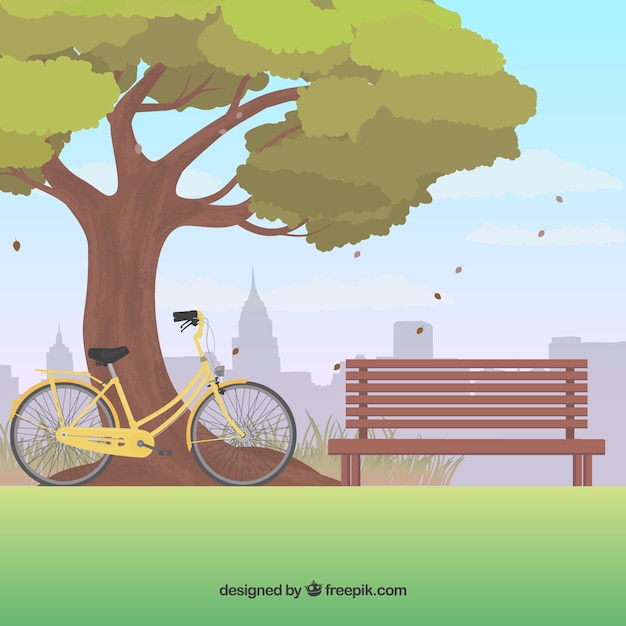 Park background with a tree and bicycle Free Vector