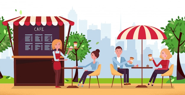 Park cafe with umbrella. people drink coffe in outdoor vector street cafe on restaurant terrace. Premium Vector