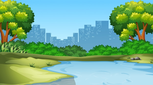 Park in city scene Free Vector