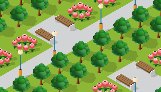 Park city with trees lawns Premium Vector