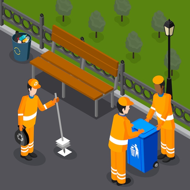 Park cleaning team composition Free Vector