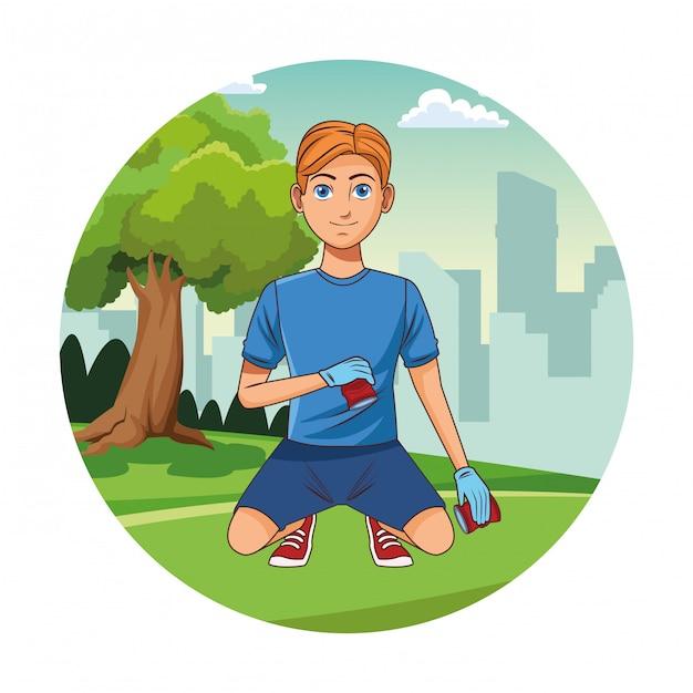 Park cleaning volunteer boy cartoon Premium Vector