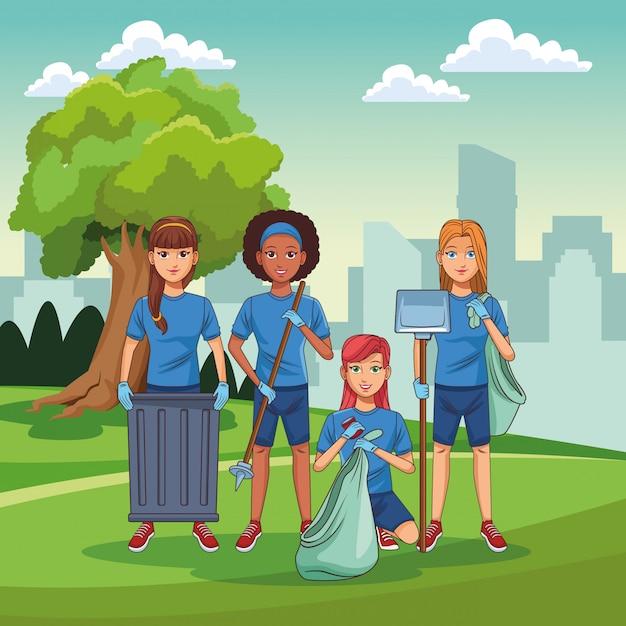 Park cleaning volunteers Premium Vector