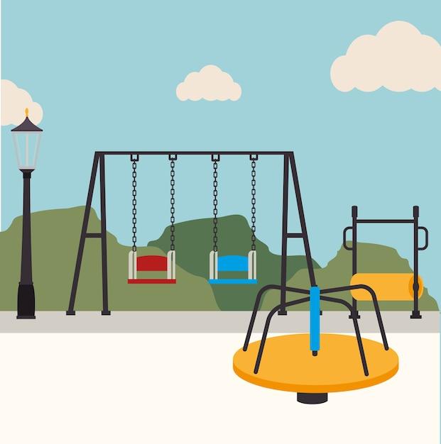 Park design over landscape background vector illustration Premium Vector